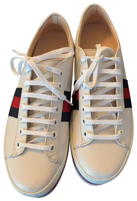 Item - White/Red/Navy Peggy Quentin Leather Sneakers Size EU 37 (Approx. US 7) Regular (M, B)