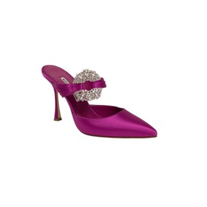 Manolo Blahnik Crystal Leather Pump Satin Pink Mules