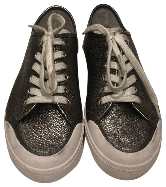Item - Silver New Leather Lace Up Low Sneakers Size EU 37 (Approx. US 7) Regular (M, B)