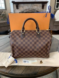 Louis Vuitton Speedy Bandouliere Keepall Weekend Travel Damier Handbags Satchel in Brown