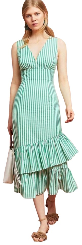 9245472dbe67d Tracy Reese Green and White Stripe Mid-length Casual Maxi Dress Size ...
