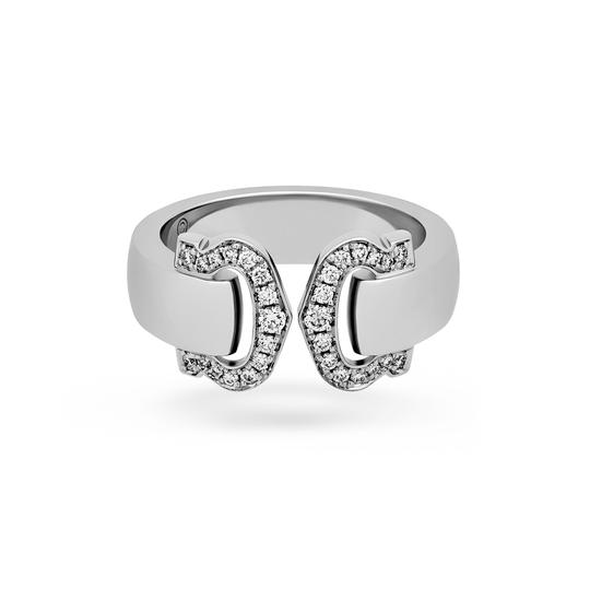 Cartier Cartier 18K White Gold Double C Logo Diamond Ring Size: 6 Image 1