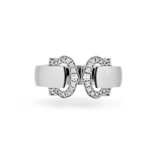 Cartier Cartier 18K White Gold Double C Logo Diamond Ring Size: 6 Image 2