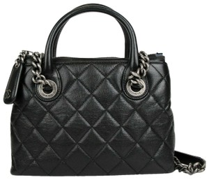 Chanel Leather Diamond Quilted Tote in Black