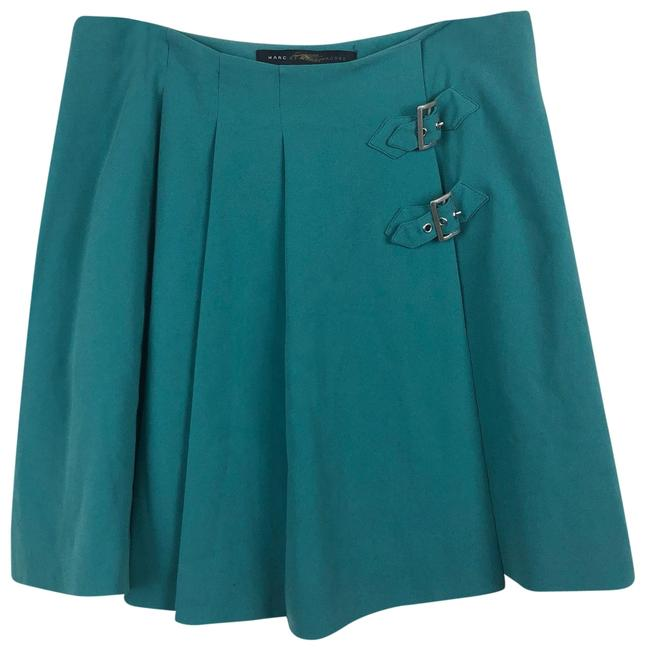 Item - Teal Silk Pleated Buckle Skirt Size 4 (S, 27)