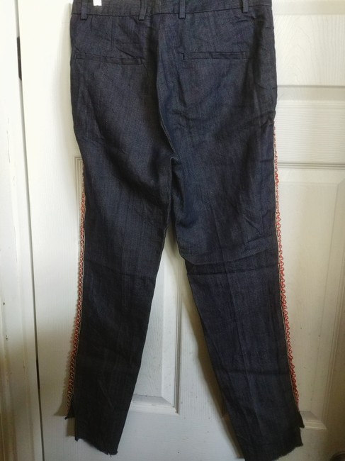 on sale fa897 88b16 Dark Blue Rinse 42 In Italy Denim Trimmed Pants Straight Leg Jeans Size 28  (4, S) 76% off retail