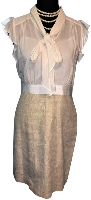 Item - White / Beige Metallic 2 In 1 Blouse and Skirt Short Work/Office Dress Size Petite 6 (S)