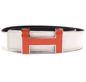 Hermès 32Mm Quizz Orange enamel plated H Silver Belt Size 80 Reversible Belt