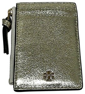 Tory Burch Crinkle Crackle Gold Metallic Credit Business Card Zip Holder