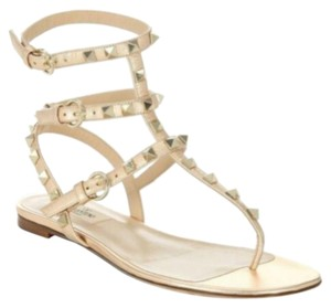 Valentino Studded Pointed Toe Leather Ankle Strap Stiletto copper Sandals