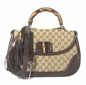 Gucci Top Handle Canvas Leather Bamboo Like New Shoulder Bag