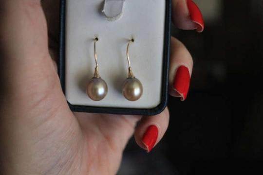 Tahitian South Sea Exceptional 9mm South Sea Pearl Earrings, 14KT YG