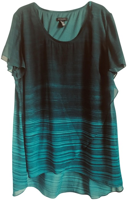 Item - Emerald Green Layered Scoop Neck Blouse Size 14 (L)