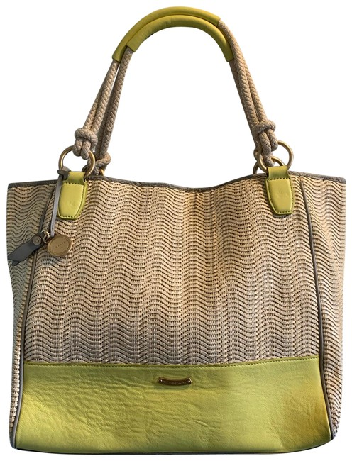 Item - Shopper Yellow Leather Straw Tote