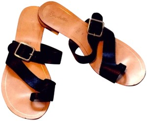 Seychelles Leather Anthropologie Anthro Black Sandals