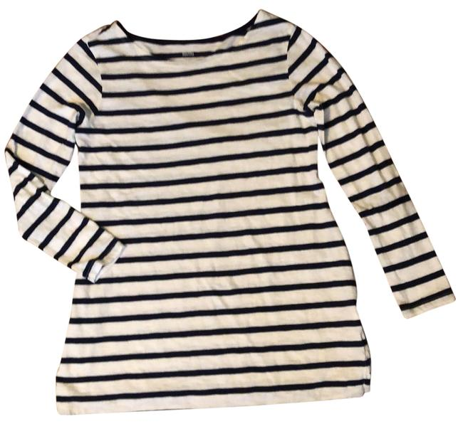 Item - Ivory Striped Fitted Long Sleeve Maternity Top Size 6 (S)