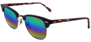 Ray-Ban RB3016-1221C3-51 Clubmaster Unisex Violet Frame Green Lens Sunglasses