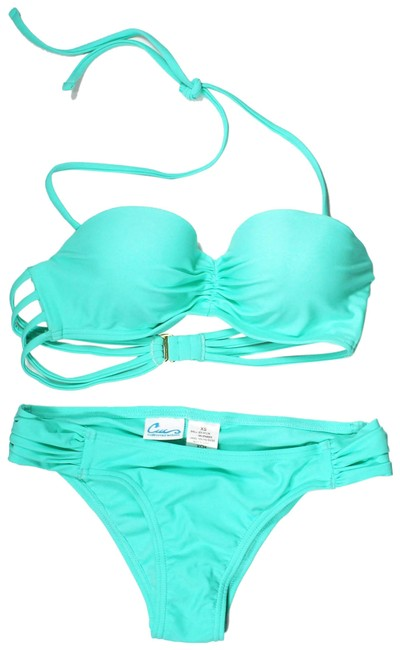 Item - Mint Green Into The Deep Strappy Underwire Top with Strappy Hipster Bi Bikini Bottom Size 0 (XS)