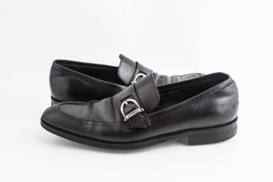Salvatore Ferragamo Black Leather Single Buckle Shoes