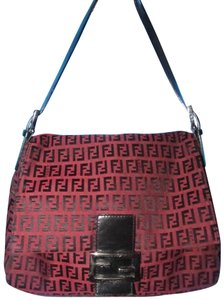 Fendi Small F 'mamma Zucco' Style Iconic Style Burgundy & Mint Condition Shoulder Bag