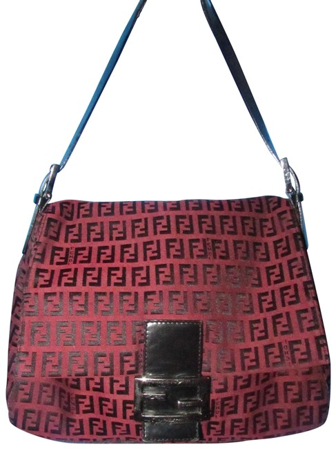 Item - 'mamma Zucco' Zucchino Canvas/Leather Black Logo Print On Dark Red Canvas and Leather Shoulder Bag