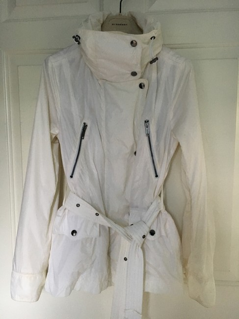 Burberry Hooded Rain Trench Ivory Jacket Image 1