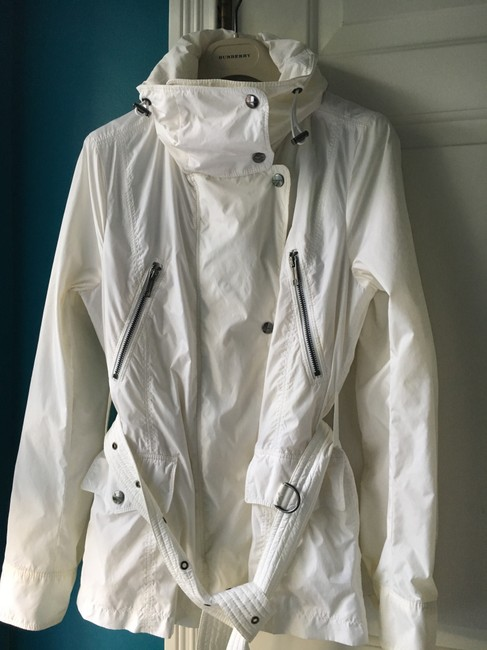 Burberry Hooded Rain Trench Ivory Jacket Image 2