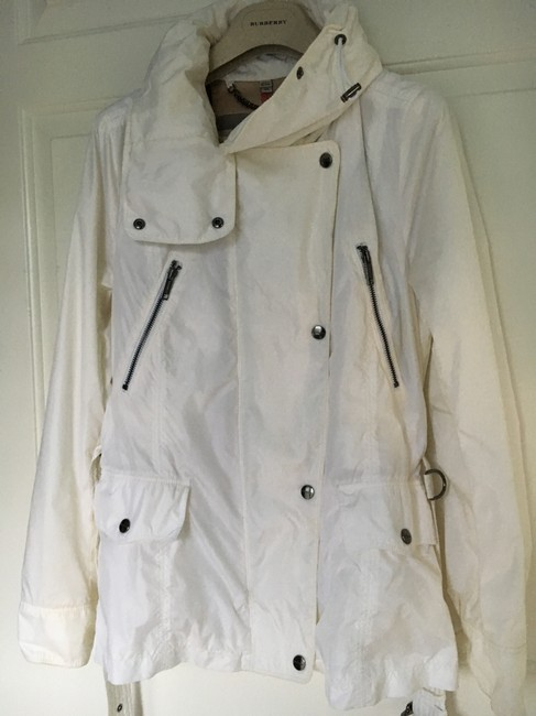 Burberry Hooded Rain Trench Ivory Jacket Image 4