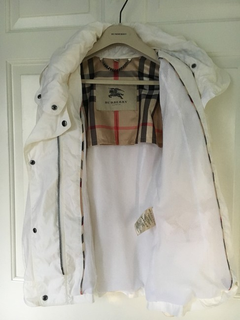 Burberry Hooded Rain Trench Ivory Jacket Image 8
