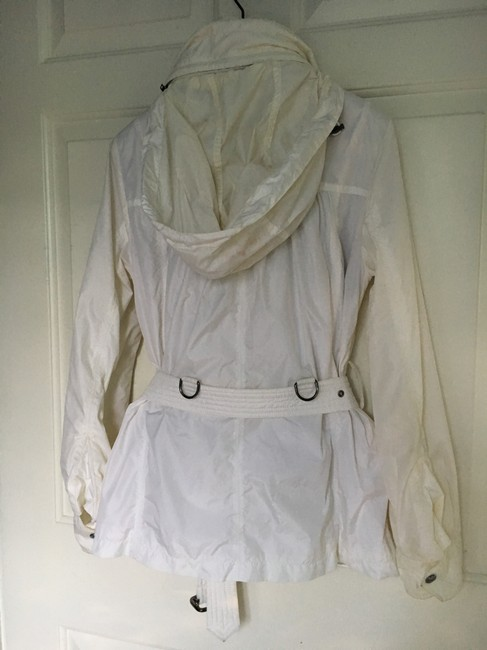 Burberry Hooded Rain Trench Ivory Jacket Image 9