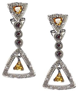 NY Collection Sterling Natural Citrine Quartz Garnet Womens Dangle Triangle Earrings