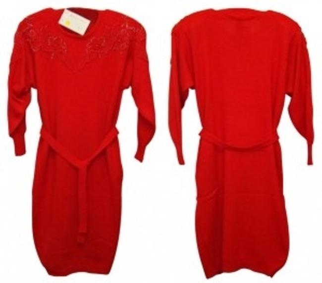 Belldini Red 4916 - Acrylic Beaded Sweater Above Knee Night Out Dress Size 12 (L) Belldini Red 4916 - Acrylic Beaded Sweater Above Knee Night Out Dress Size 12 (L) Image 1