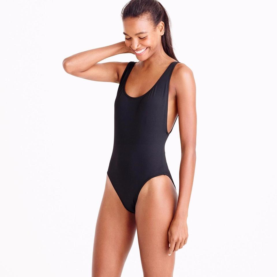 dae1d064f7 J.Crew Black Plunging Scoopback Swimsuit One-piece Bathing Suit Size ...