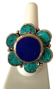 My Closet- Embellished by Leecia Inlayed Turquoise & Lapis Gemstone Flower In Silver Statement Ring, Size 7-12