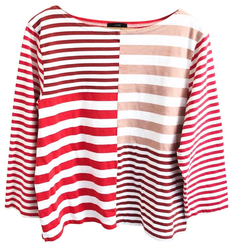 c212322f46 J.Crew Red Pink White Patchwork Striped Tee Shirt Size 16 (XL, Plus ...