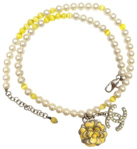 Chanel CHANEL Pearl Beaded Camellia CC Choker Necklace