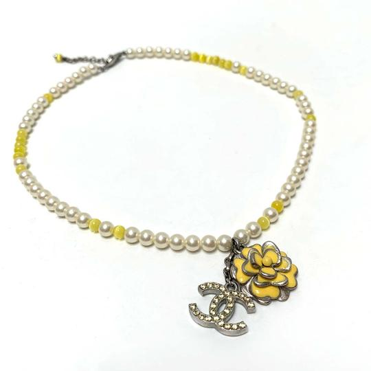 Chanel CHANEL Pearl Beaded Camellia CC Choker Necklace Image 2