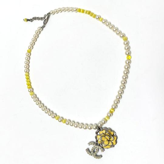 Chanel CHANEL Pearl Beaded Camellia CC Choker Necklace Image 3