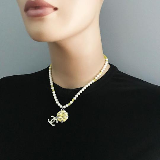 Chanel CHANEL Pearl Beaded Camellia CC Choker Necklace Image 6