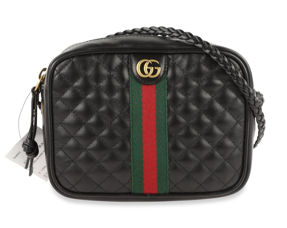great fit select for best enjoy clearance price Gucci Mini Quilted Zip Camera Black Leather Cross Body Bag