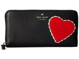 ce6263f3f32d Kate Spade Kate Spade Heart Yours Turly Applique Black Leather Wallet  PWRU6139