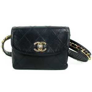 44a17c946245 Chanel Distressed Calfskin Quilted Uniform Black Leather Cross Body ...