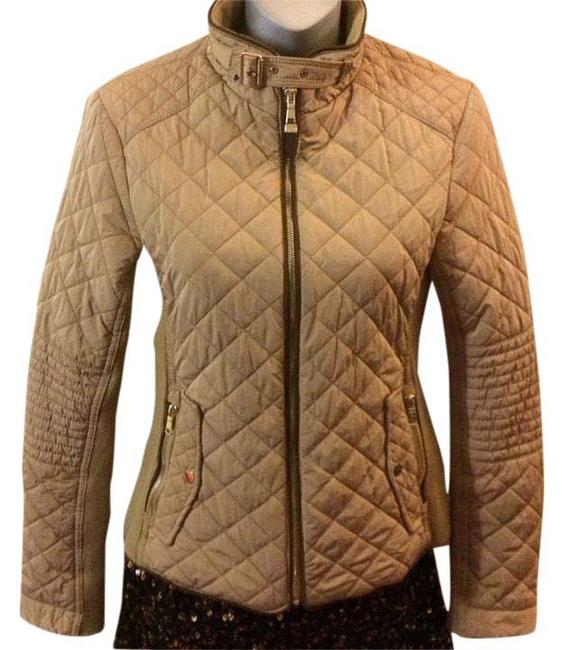 Item - Beige+gold High Collar Moto Style Full-zip Down Jacket Size 4 (S)
