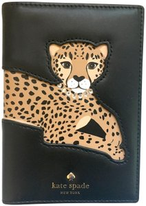 Kate Spade Run Wild Leopard Applique Passport Holder Black Leather Wallet