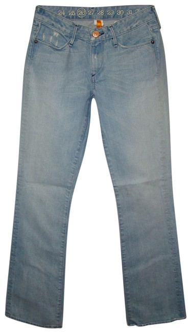 Item - Blue Light Wash Keaton 178 Mid Rise Distructed Boot Cut Jeans Size 28 (4, S)