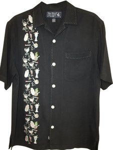 Nat Nast Men's Shirt Camp Shirt Silk Button Down Shirt Black
