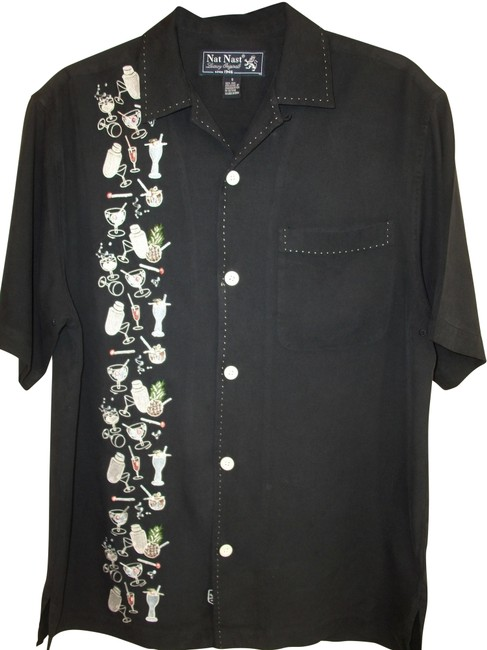 Item - Black Luxury Silk Embroidered Camp Shirt Sm Button-down Top Size 6 (S)
