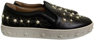 Aquazzura Embroidered Pearl Sneakers Leather Black Athletic