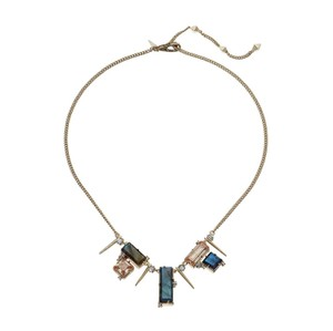 Alexis Bittar NEW Geometric Multi Stone Bib With Satellite Crystal Spikes Necklace