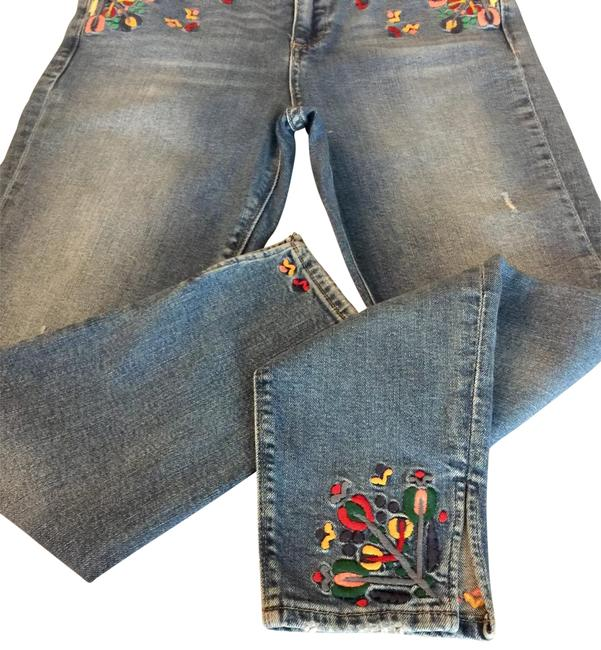 Item - Ash Blue Acid Embroidered Ankle Capri/Cropped Jeans Size 6 (S, 28)
